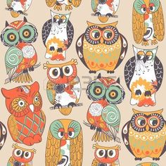 Seamless owl pattern.  photo