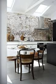 Image result for white kitchens with brick walls