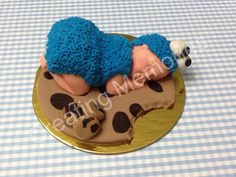 Baby In Cookie Monster Outfit Cake Topper. Made of Vanilla Fondant. Cake decorations ready to use