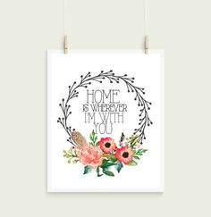Home Is Wherever Im With You Wreath Watercolor by InspireYourArt