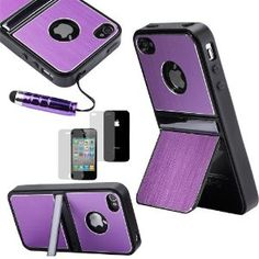 ATC Purple Dual Stand Holder TPU Brushed Aluminum Case for Apple iPhone 4 4G 4S + Free Screen Protector & Touch Stylus