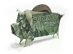 Hello, Up for sale is a beautifully crafted Origami Pig. It's made with a brand new dollar bill and the folding pattern is designed by Won Park. (Book: Extreme Origami, ISBN: To see a 360 view of this pig before ordering, please g. Origami Star Box, Origami Love, Origami Folding, Origami Design, Origami Stars, Origami Easy, Paper Folding, Origami Flowers, Origami Tooth