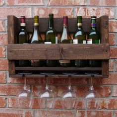 Simply Rustic 6 Bottle Wall Mount Wine Rack with 4 Glass Slot Holder
