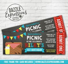 Printable Picnic Chalkboard Ticket Birthday Invitation | Party at the Park | Lemonade | Ants | Kids Spring or Summer Birthday Party IDea | FREE thank you card | Favor Tags | Cupcake Toppers | Food and Drink Labels | Banner | Matching Printable Party Package Decor Available! www.dazzleexpressions.com