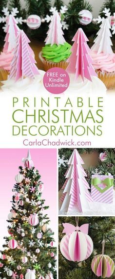 "The ""Printable Pink Peppermint Christmas Decorations"" ebook gives you the printables and instructions to create stunning ornaments, garlands, cupcake toppers, tabletop trees and gift bags. KINDLE DEVICE NOT NECESSARY. There's a FREE Kindle app for virtually any device. And the book is FREE for Kindle Unlimited members! #ChristmasPrintables #PinkChristmas #ChristmasOrnaments #Kindle #PinkPrintables #KindleBook #DIYChristmasOrnaments #KindleUnlimited #CarlaChadwick"