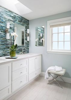 Vani Sayeed Studios (House of Turquoise) - Home Decor Ideas Bathroom Renos, Bathroom Renovations, Bathroom Ideas, White Bathroom, Mosaic Bathroom, Bathroom Vanities, Bathroom Designs, Mosaic Tiles, Master Bathroom