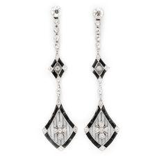 FD GALLERY   Rare & Vintage   A Pair of Art Deco Onyx and Diamond Ear Pendants, circa 1920