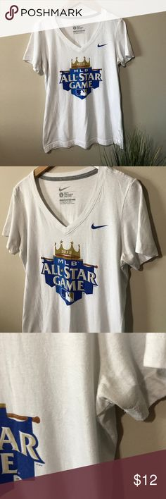 Nike MLB Allstar game tee - 2012 KC Royals tee One of the proudest Royals fan experiences ever - (prior to that whole back to back World Series thing 😉) - in good condition worn quite a bit the first couple seasons after and shows some pilling under arms - I wore this when I was a medium tee and it fit very well - bundle and save more! Nike Tops Tees - Short Sleeve