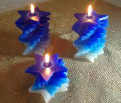 Velas para decoração de interiores em espiral no formato de estrelas, aromatizadas. www.magiadaluz08.net