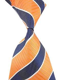 New Men's Orange Blue Striped JACQUARD WOVEN Silk Suits Tie Necktie  http://www.yourneckties.com/new-mens-orange-blue-striped-jacquard-woven-silk-suits-tie-necktie/