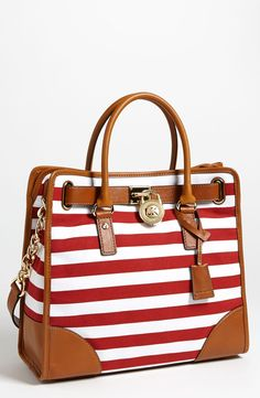 Michael Kors Hamilton  Canvas Tote in Red