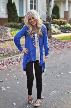 blue sweater, cream shirt, gold necklace, black leggings,studded-flats...cute comfy outfit