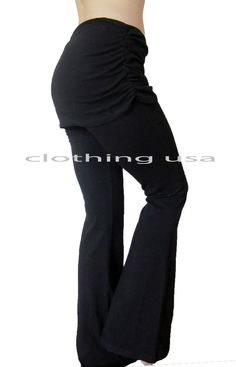 Skirted Black Cotton-Spandex Long Yoga Pants With Attached Mini Skirt  S-M-L #PopularBasics #athleticpants