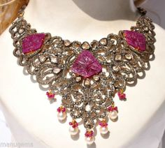 Huge 14kt 70 Carats Carved Ruby Diamond southsea Pearl Necklace Collar ネックレス | eBay