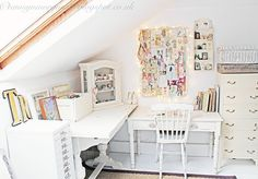shabby chic attic craft room and vintage drawers
