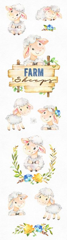 This Farm Sheeps watercolor set is just what you needed for the perfect invitations, craft projects, paper products, party decorations, printable, greetings cards, posters, stationery, scrapbooking, stickers, t-shirts, baby clothes, web designs and much more. :::::: DETAILS ::::::