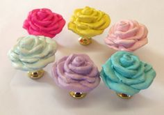 Drawer Pulls Polymer Clay Rose Roses Knobs Spring by prettyware, $26.00