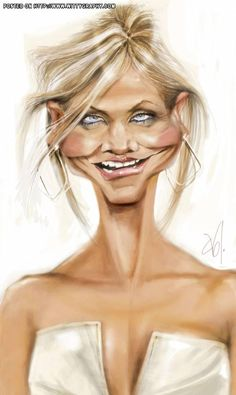 Cameron Diaz..FOLLOW THIS BOARD FOR LOTS OF GREAT CARICATURES OF FAMOUS PEOPLE...
