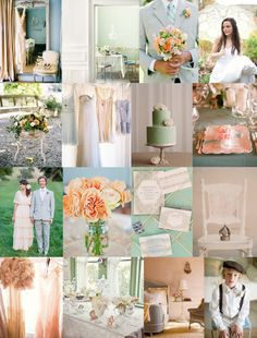 mint peach wedding decor