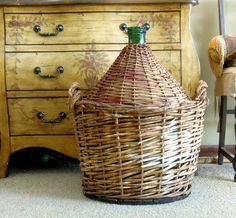 Vintage Demijohn Dame Jeanne / Wrapped in Woven Wicker / Extra Large Italian Demijohn / Wine Bottle by AloofNewfWhimsy on Etsy