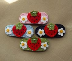 Strawberry Fields  Wool Felt Snap Hair Clip by BerryCoolDesigns