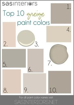 Top 10 Greige Paint Colors for Walls. 1. Sherwin Williams Mega Greige 2. Valspar Woodrow Wilson Putty 3. Benjamin Moore Hazy Skies 4. Sherwin Williams Canvas Tan 5. Behr Granite Boulder 6. Glidden Martha Stewart Sharkey Gray 7. Benjamin Moore Gallery Buff (thats my color!) 8. Valspar Bay Sands 9. Behr Mineral 10. Sherwin Williams Perfect Greige