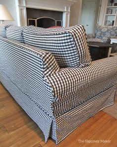 Custom Sofa Slipcover In Gingham