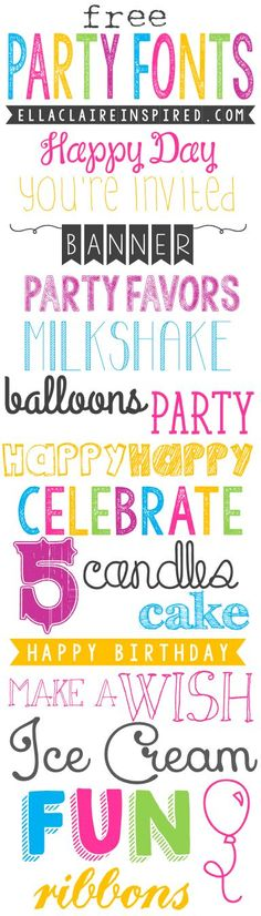 18 Adorable Free Party Fonts ~ Says: gorgeous and fun free fonts for all of your summer parties! I love all of the fun things in the summertime~ birthday parties, pool parties, picnics, play dates, and more. I hope you find this helpful when creating all Polices Cricut, Blog Fonts, Photoshop, Gratis Fonts, Police Font, Faire Part Photo, Party Font, Fancy Fonts, Silhouette Projects