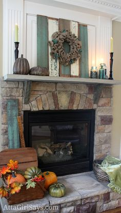 Fall Fireplace Mantel and Hearth with burlap wreath, chippy boards, pumpkins and blue Ball jars  by AttaGirlSays.com
