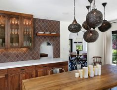 Exotic and Exquisite: 16 Ways to Give the Dining Room a Moroccan Twist moroccan dining room decor - Dining Room Decor Mediterranean Kitchen Decor, Moroccan Kitchen, Moroccan Design, Moroccan Decor, Moroccan Lanterns, Moroccan Style, Modern Moroccan, Moroccan Room, Moroccan Furniture