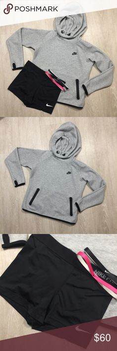 Nike Sweatshirt & Spandex All items are in like new condition! The sweatshirt and spandex are both a medium. The headbands are one size. Nike Tops Sweatshirts & Hoodies