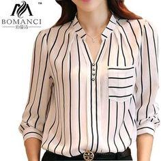 2015 Hot vender longa - camisa de manga estilo coreano mulheres Tops listrado tamanho grande Chiffon blusa V - neck moda roupas femininas BMC900