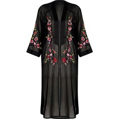River Island Black sheer floral embroidered kimono (€84) ❤ liked on Polyvore featuring black, capes / kimonos, coats / jackets, women and river island