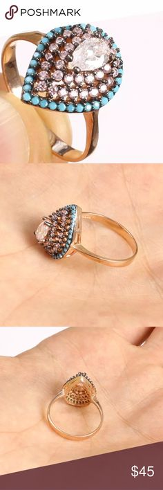 """PEAR SHAPED TOPAZ➕TURQUOISE RING•925 STERLING PEAR SHAPED HANDMADE TOPAZ TURQUOISE RING•925K SOLID STERLING SILVER & BRONZE  SIZE 7.5 • Material is .925 Solid Sterling Silver & Bronze The stones are TOPAZ, TURQUOISE. This Ring is 3 grams. Head size is 0.48"""".  Has the 925 stamp. Made in EUROPE with high quality workmanship! Jewelry Rings"""