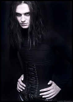 Um, so we LOVE this guy's facial expression. His corset is on backwards? Goth Beauty, Dark Beauty, Corset, Gothic Men, Gothic Vampire, Vampire Art, Gothic Photography, Goth Guys, Vintage Goth