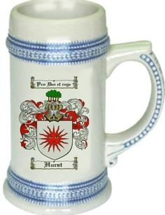 Hurst Coat of Arms / Family Crest stein mug |  $21.99 atwww.4crests.com - This stein starts with the family coat of arms hand drawn digitally. We then use a high quality 22 oz. ceramic stein to apply the coat of arms to via sublimation.