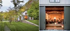 Sliding barn doors in New York field house by Paul F. Shurtleff and interior designer Thad Hayes