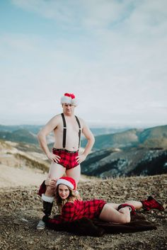 Funny Christmas Cards as a couple or engagement pictures in underwear. Doudior or couples boudoir for wedding photos. Couples Christmas cards that are sexy and hilarious.