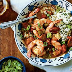 Shrimp-and-Sausage Gumbo | Enjoy a smoky and spicy classic that takes just a couple of minutes to prepare. When it's ready, serve over a bed of herbed rice.