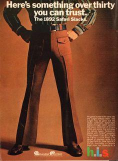 Swinging Blue Jeans, Cords and Slacks - Retro Adverts – Voices of East Anglia 1960s Fashion Mens, Seventies Fashion, Vintage Fashion, Trouser Suits, Slacks, Magazine Man, Vintage Advertisements, Vintage Ads, Fashion Advertising