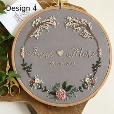 Hand Embroidery Patterns Flowers, Hand Embroidery Videos, Embroidery Flowers Pattern, Embroidery Hoop Art, Ribbon Embroidery, Custom Embroidery, Wedding Embroidery, Happy Couples, Wedding Decor