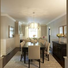 Dining Room Wainscoting, Traditional, dining room, Pratt and Lambert Gray Moire, Meredith Heron Design