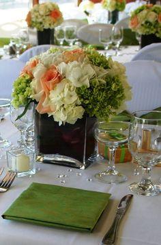 Peach, Ivory & Green Flower Centerpiece @Bridgitte Ball Ball Ball Brown