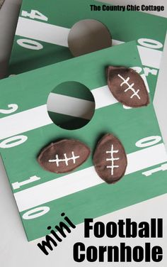 Mini Football Cornhole Game -- a fun mini size version of the original. Perfect for kids or indoors! Click here to see how to make your ow... Football Crafts, Football Themes, Football Parties, Football Decor, Party Activities, Party Games, Activities For Kids, Party Ideas For Teen Girls, Courtier