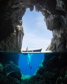 Cave diving off the island of Karpathos, Greece.