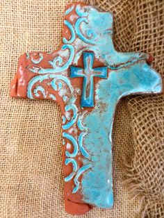 Turquoise Scroll Cross #crosses #handmadecrosses #pottery