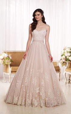 Lace on Tulle Designer Wedding Dress | Essense of Australia #Essense #WeddingDress