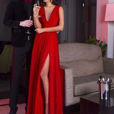 Red V-Neck High-Slit A-line Satin Chiffon Prom Dresses