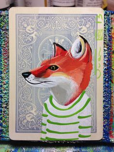 Red Fox portrait N122 on a playing cards. Original acrylic painting. 2013