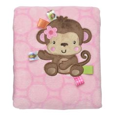 Taggie's Monkey Coral Plush Blanket 30